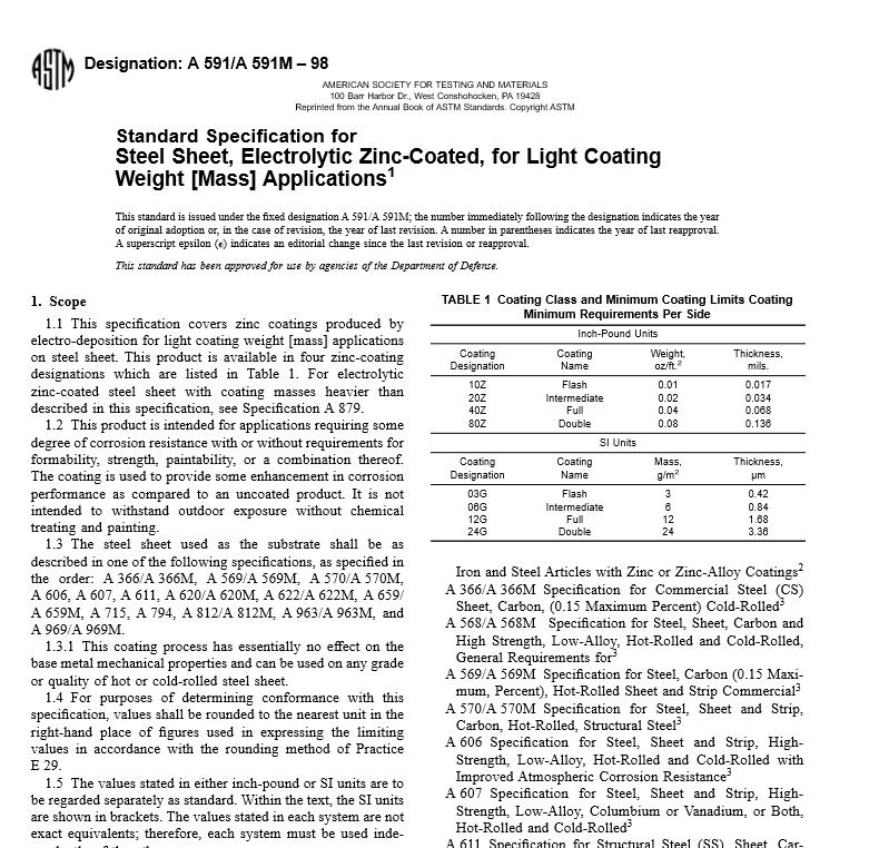 ASTM A 591 A 591M – 98 pdf free download - WorldWide Civil