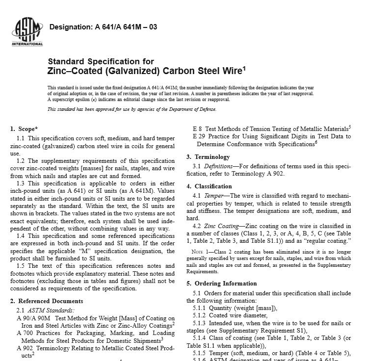 ASTM A 641 A 641M – 03 pdf free download - WorldWide Civil